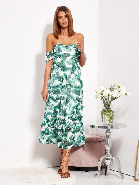 Biało-zielona sukienka maxi off shoulder w liście                              zdj.                              1
