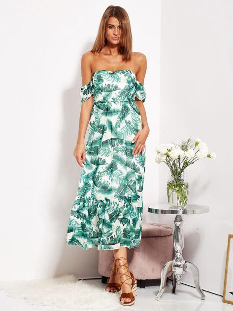 SCANDEZZA Biało-zielona sukienka maxi off shoulder w liście                              zdj.                              4