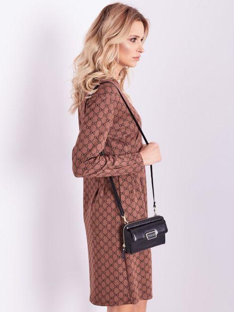 SCANDEZZA Brązowa sukienka ze wzorem                              zdj.                              7