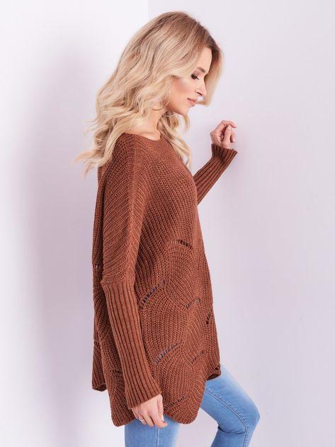 SCANDEZZA Brązowy luźny sweter z ażurowaniem                              zdj.                              8