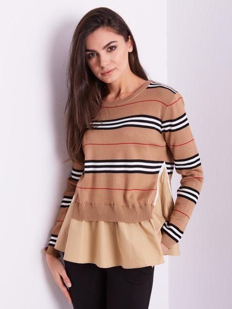 SCANDEZZA Brązowy sweter z koszulą                              zdj.                              3