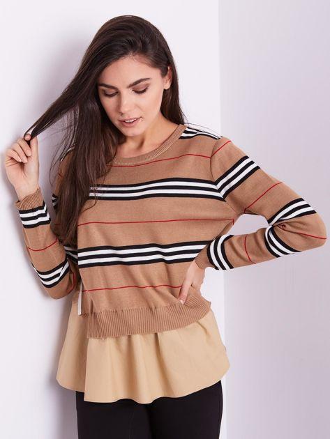 SCANDEZZA Brązowy sweter z koszulą                              zdj.                              9