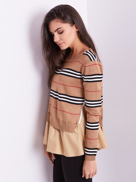 SCANDEZZA Brązowy sweter z koszulą                              zdj.                              10