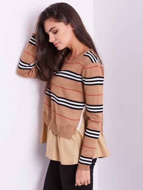 SCANDEZZA Brązowy sweter z koszulą                              zdj.                              6
