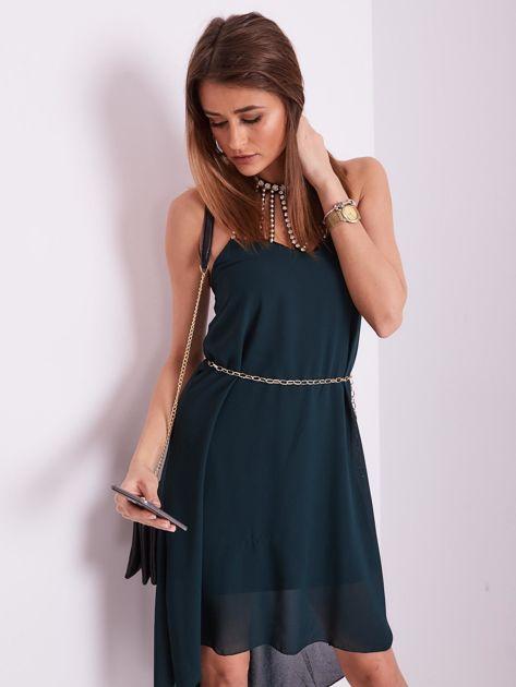 SCANDEZZA Ciemnozielona sukienka z aplikacją                              zdj.                              10