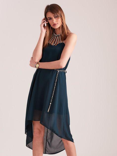 Ciemnozielona sukienka z aplikacją                              zdj.                              5