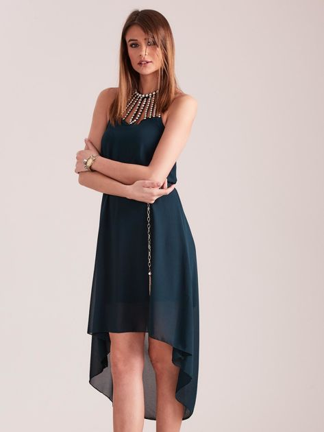 SCANDEZZA Ciemnozielona sukienka z aplikacją                              zdj.                              7