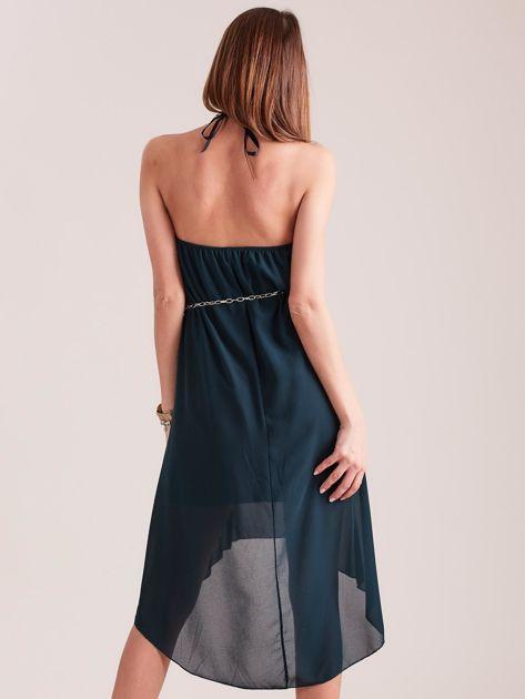 Ciemnozielona sukienka z aplikacją                              zdj.                              4