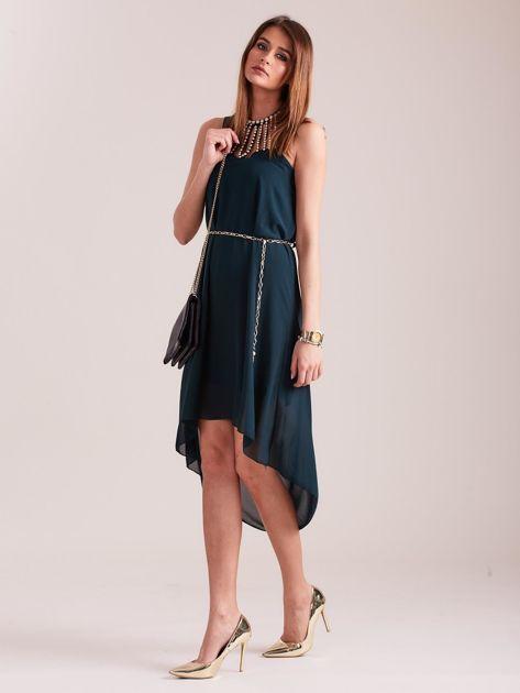 Ciemnozielona sukienka z aplikacją                              zdj.                              1