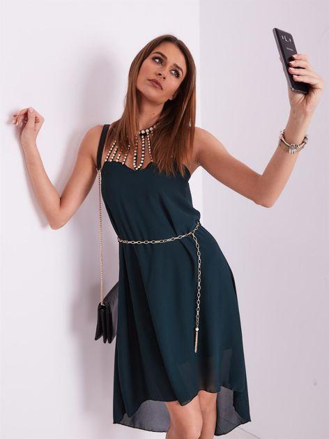 Ciemnozielona sukienka z aplikacją                              zdj.                              9