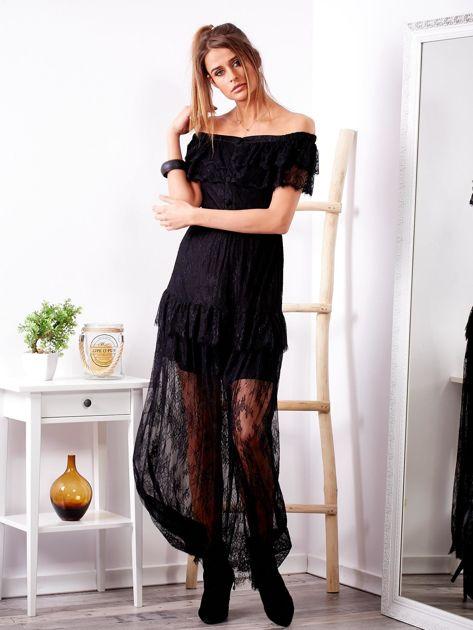 Czarna długa koronkowa sukienka                              zdj.                              1