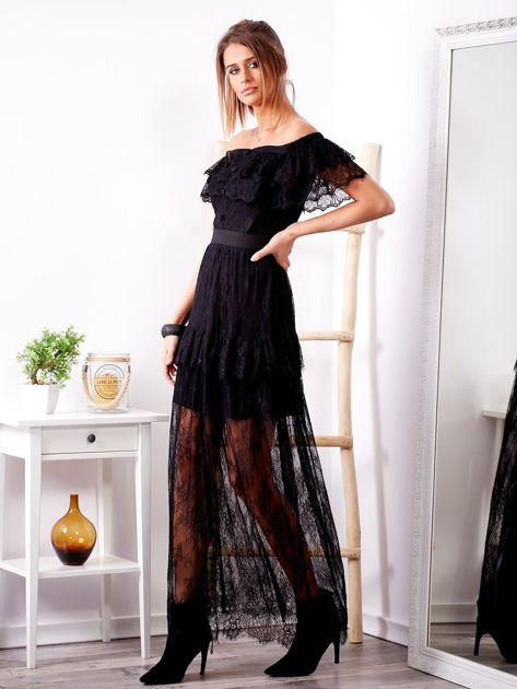 Czarna długa koronkowa sukienka                              zdj.                              3