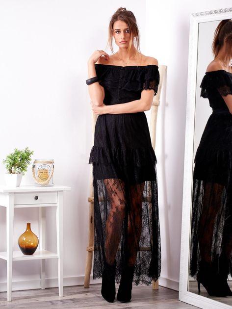 Czarna długa koronkowa sukienka                              zdj.                              4