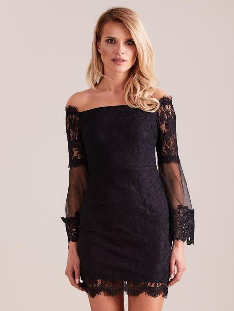 SCANDEZZA Czarna koronkowa sukienka                              zdj.                              2