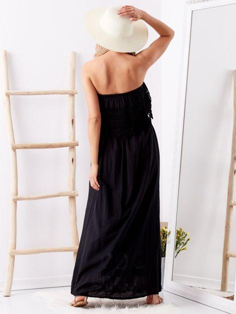 Czarna sukienka maxi z dekoltem carmen                              zdj.                              2