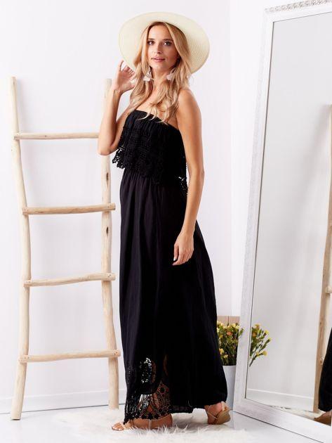 Czarna sukienka maxi z dekoltem carmen                              zdj.                              5