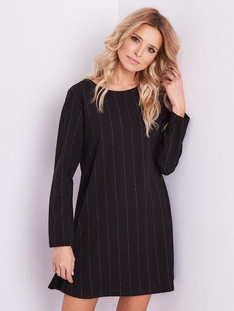SCANDEZZA Czarna sukienka o luźnym kroju                              zdj.                              5