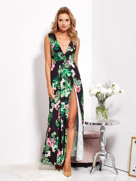 Czarna sukienka w kwiaty z rozcięciem i wiązaniem                              zdj.                              1