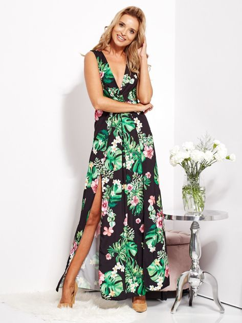 Czarna sukienka w kwiaty z rozcięciem i wiązaniem                              zdj.                              10