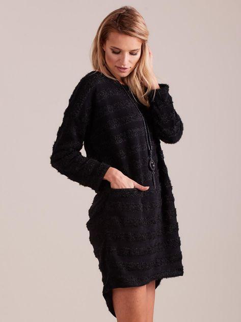 SCANDEZZA Czarna sukienka w paski                              zdj.                              5