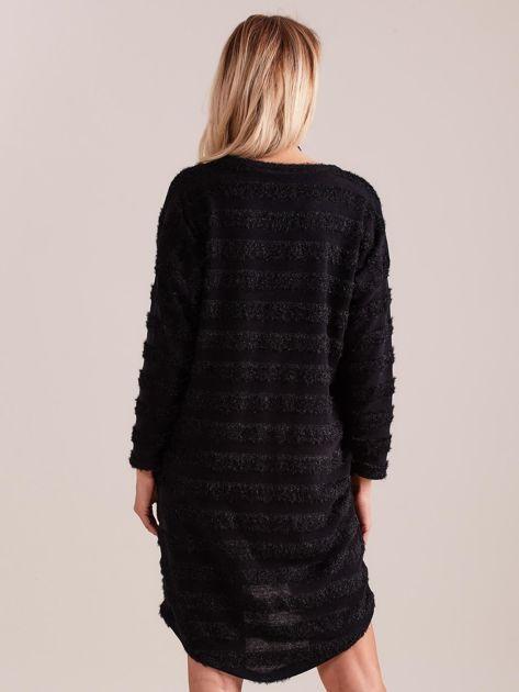 SCANDEZZA Czarna sukienka w paski                              zdj.                              3
