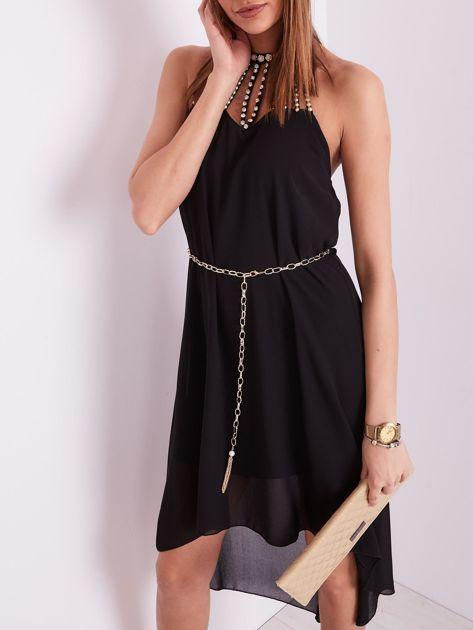 Czarna sukienka z aplikacją                              zdj.                              2