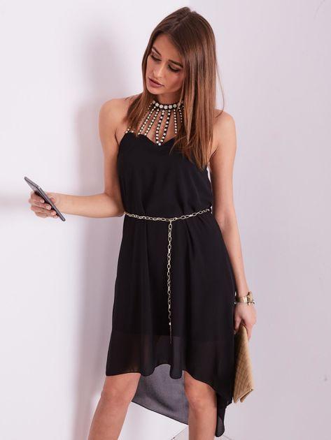 Czarna sukienka z aplikacją                              zdj.                              6