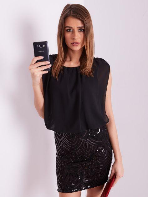 SCANDEZZA Czarna sukienka z cekinami                              zdj.                              8