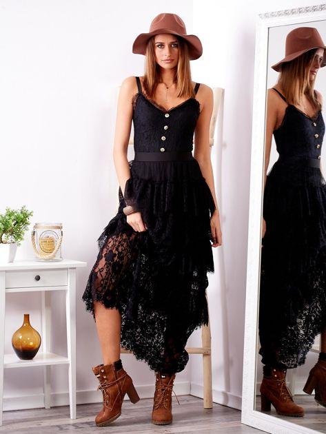 Czarna sukienka z falbanami                              zdj.                              1