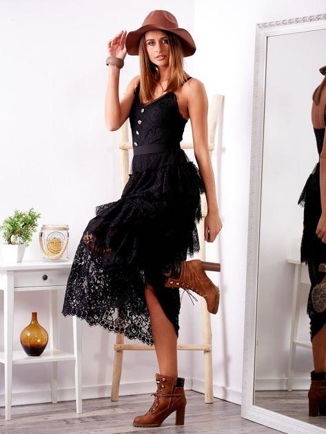SCANDEZZA Czarna sukienka z falbanami                              zdj.                              3