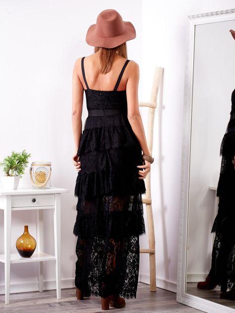 SCANDEZZA Czarna sukienka z falbanami                              zdj.                              2