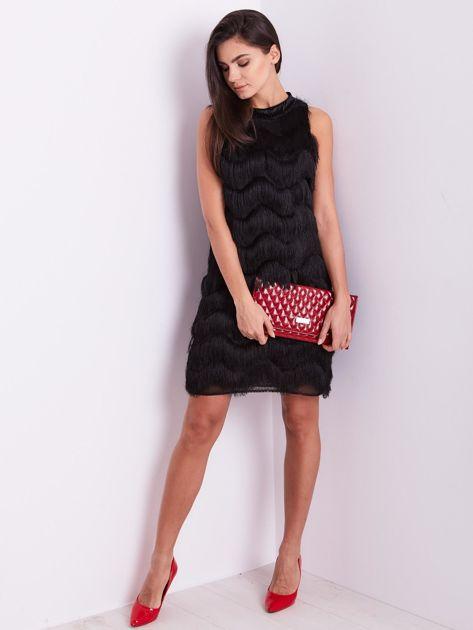 SCANDEZZA Czarna sukienka z frędzlami                               zdj.                              12