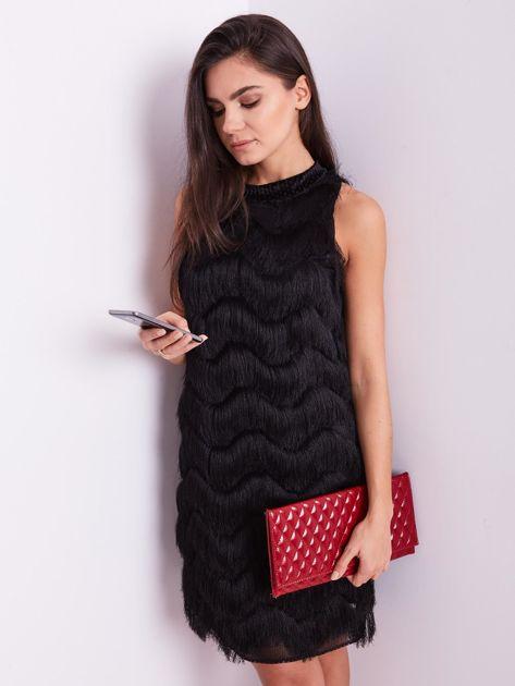 SCANDEZZA Czarna sukienka z frędzlami                               zdj.                              4