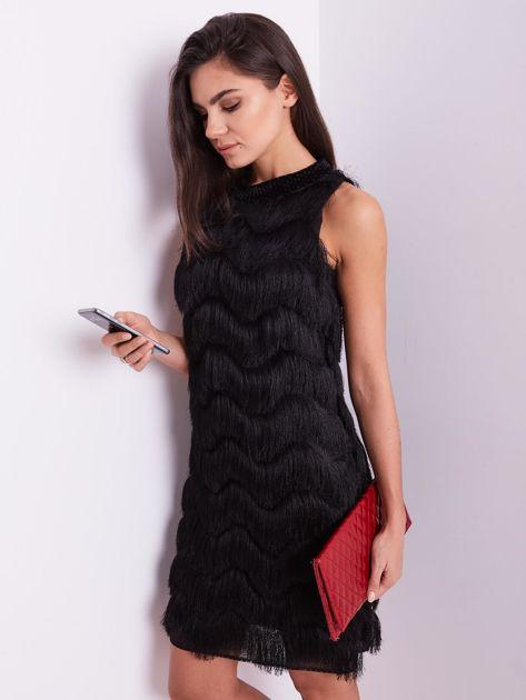 Czarna sukienka z frędzlami                               zdj.                              7