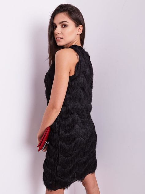 Czarna sukienka z frędzlami                               zdj.                              9