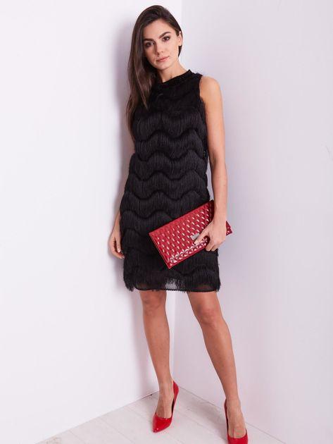 Czarna sukienka z frędzlami                               zdj.                              11