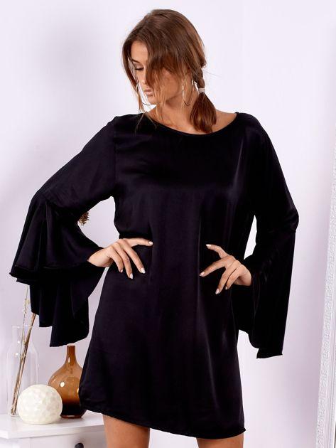 Czarna sukienka z hiszpańskimi rękawami                              zdj.                              2
