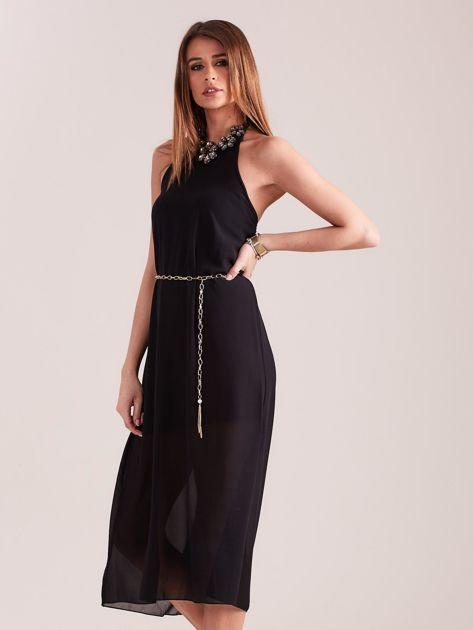 SCANDEZZA Czarna sukienka z ozdobnym dekoltem                              zdj.                              5