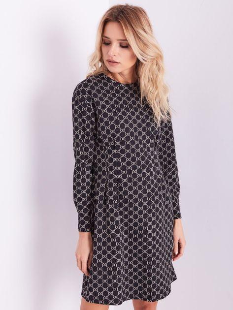 Czarna sukienka ze wzorem                              zdj.                              4