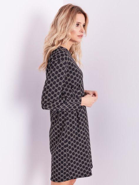 Czarna sukienka ze wzorem                              zdj.                              5