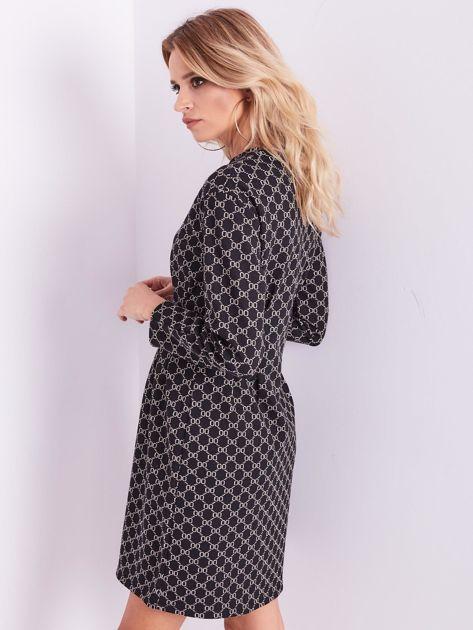 Czarna sukienka ze wzorem                              zdj.                              9