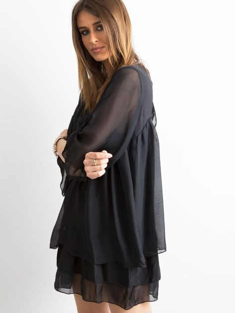 Czarna zwiewna sukienka z falbanami                              zdj.                              3