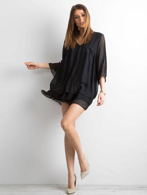 Czarna zwiewna sukienka z falbanami                              zdj.                              4