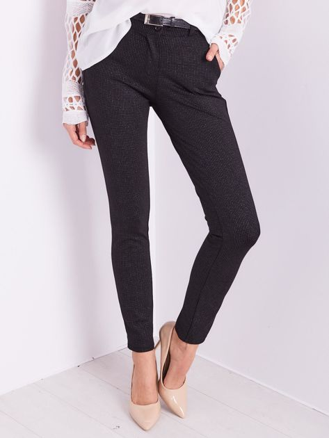 Czarne spodnie w delikatne groszki                              zdj.                              2