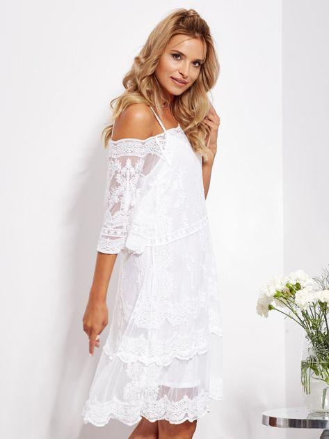 Ecru luźna sukienka z oddzielną halką                              zdj.                              3