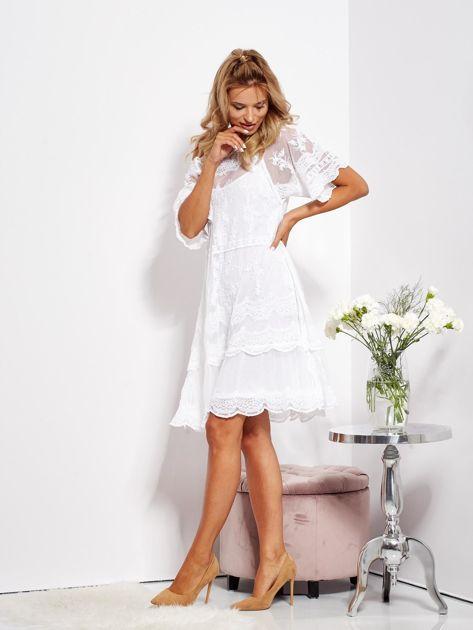 Ecru luźna sukienka z oddzielną halką                              zdj.                              4