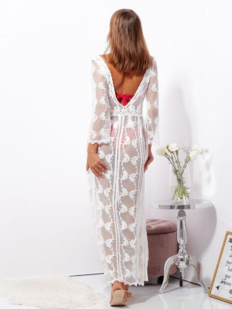 Ecru maxi sukienka plażowa z głębokim dekoltem                              zdj.                              6