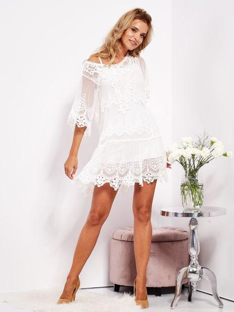 Ecru sukienka koronkowa z halką                              zdj.                              5
