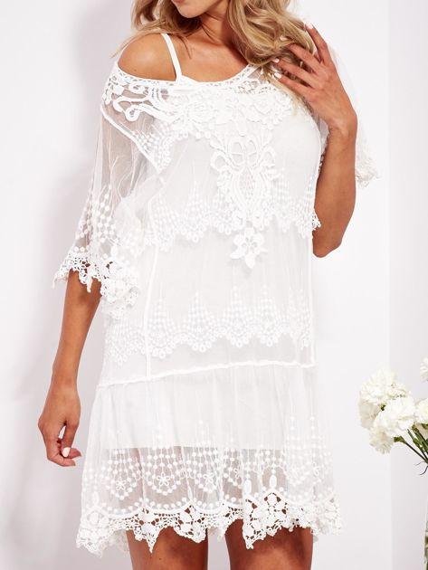 Ecru sukienka koronkowa z halką                              zdj.                              8