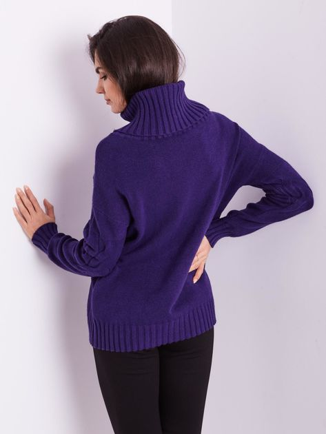 Fioletowy sweter golf w warkocze                              zdj.                              8